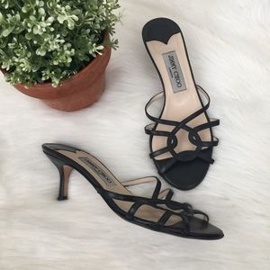 Jimmy Choo Black Leather Strappy Heels